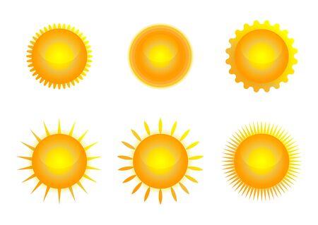 Insieme dell'icona di Sun, illustrazione di vettore