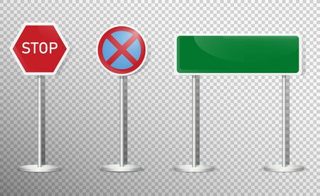 Road signs. Vector green plate road signs templates for direction. Vector illustration Archivio Fotografico - 134452396