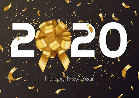 2020 Happy New Year vector background with golden gift bow, confetti, white numbers. Christmas design banner. Festive premium concept. Vector illustration Archivio Fotografico - 134452401
