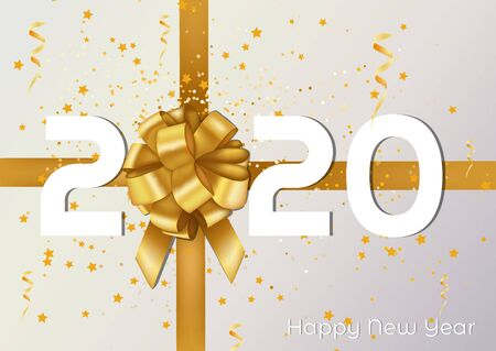 Merry Christmas and Happy New Year 2020 vector greeting card and poster design with golden ribbon and present.Vector illustration Archivio Fotografico - 134452403