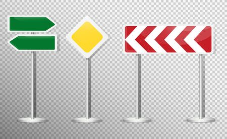 Set of road signs isolated on transparent background. Vector illustration. Archivio Fotografico - 134452654