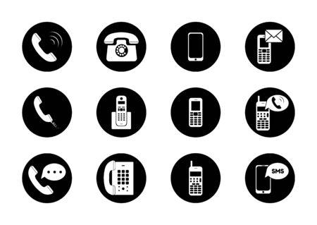 Telephone icons set on white background. Vector illustration Archivio Fotografico - 134452656