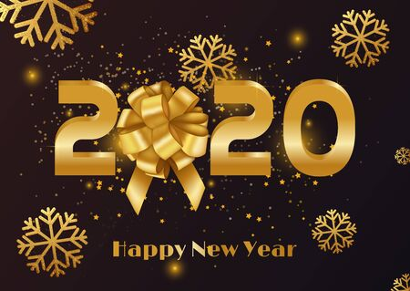 Merry Christmas and Happy New Year 2020 vector greeting card and poster design with snowflake. Vector illustration Archivio Fotografico - 134449368