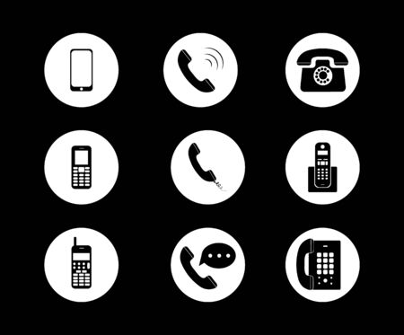 Phone icon in trendy flat style isolated on black background. Telephone symbol. Vector illustration. Archivio Fotografico - 134452827