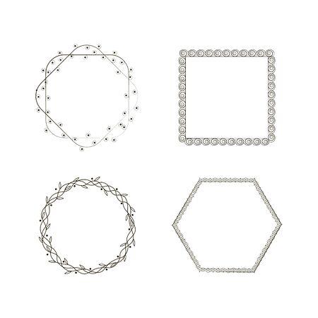 Set of vintage circle frames with beautiful filigree,ornamental frame, decorative vintage borders. Vector collection frames Archivio Fotografico - 134635318