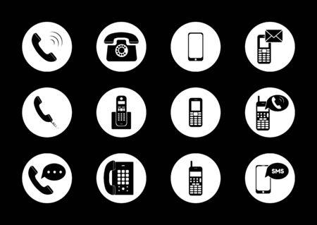 Vector de icono de teléfono. Vector de icono de llamada. gadget de dispositivo de teléfono inteligente de teléfono móvil. Ilustración vectorial