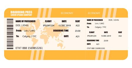 Vector illustration of airline boarding pass - stock vector