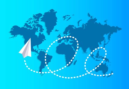 Paper plane flying over a world map reserves a dashed trace. Travel and tourism background. Vector illustration