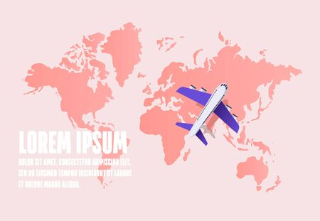 Airplane flying over a world map. Travel and tourism background. Vector illustration Illusztráció