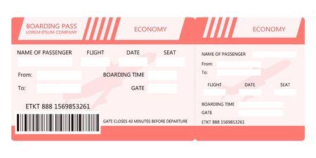 Billete de avión o tarjeta de embarque para viajar en avión. Ilustración vectorial