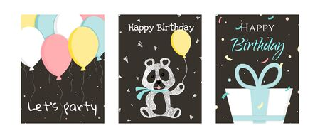 Set of birthday greeting cards design Ilustrace