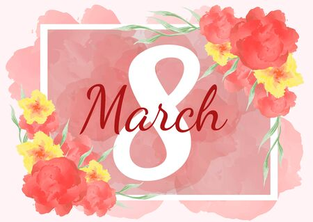 8 March. Happy Womens Day. Banner for the International Womens Day. Flyer for March 8 with the decor of flowers. Vector illustration