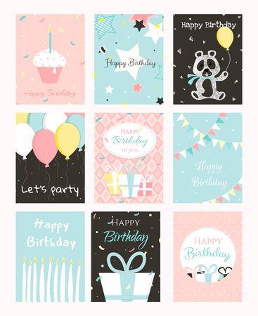 Conjunto de diseño de tarjetas de felicitación de cumpleaños.