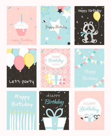 Set Geburtstagsgrußkarten-Design