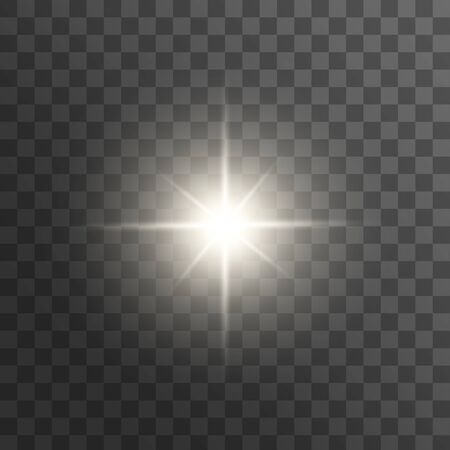 Light effect glow. Bright Star. White glowing light burst explosion with transparent. Vector illustration Ilustrace