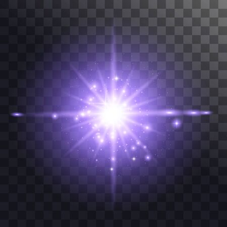 Light effect glow. Bright Star. Blue glowing light burst explosion with transparent. Vector illustration