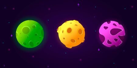 Set of cartoon planets. Colorful set of isolated objects. Space background. Fantasy planets. Vector illustration