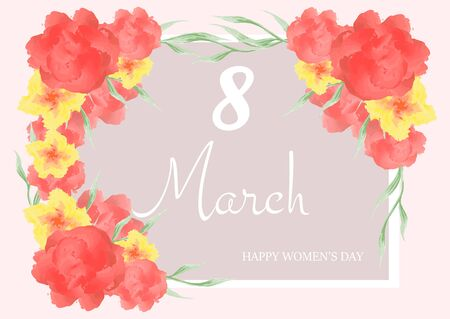 8 March. Happy Womens Day. Banner for the International Womens Day with the decor of flowers. Vector illustration