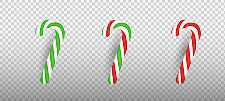 Realistic Christmas candy cane isolated on transparent background. Template for greeting card on Christmas and New Year. Vector illustration.