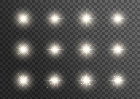 Effetto luci incandescenti. Stella scoppiata con scintillii. Effetto speciale isolato su sfondo trasparente. Sole splendente trasparente, flash luminoso. Illustrazione vettoriale
