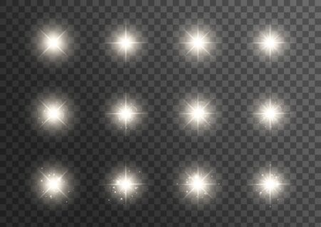 Glowing lights effect. Star burst with sparkles. Special effect isolated on transparent background. Transparent shining sun, bright flash. Vector illustration