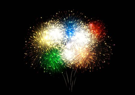 Vector realistic background with colorful fireworks on dark background. Çizim