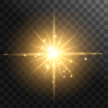 Yellow glowing light explodes on a transparent background. with ray. Transparent shining sun, bright flash. Vector illustration