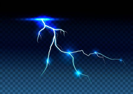 lightning bolt on transparent background. Magic and bright lighting effects. Vector Illustration