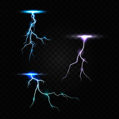 Colored lightning bolt vector set on transparent background. Electric discharges, thunderbolt glowing realistic light effects. Vector Illustration Ilustrace