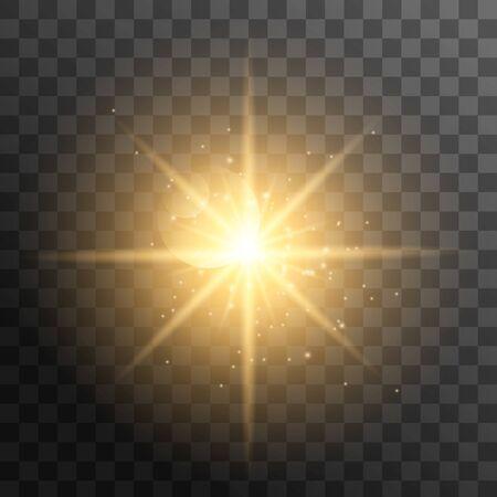 Rayons de soleil réalistes. Rayon de soleil jaune lueur abstraite éclat effet de lumière étoile rayon de soleil rayon de soleil brillant isolé. Illustration vectorielle