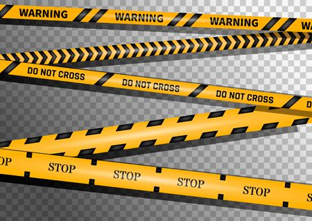 Creative vector illustration of black and yellow police stripe border. Set of danger caution seamless tapes. Art design line of crime places. Abstract concept graphic element. Construction sign. Ilustrace