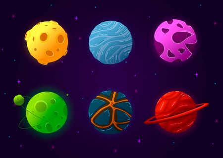 Colorful space elements set with comet and solar system. Planets in cartoon style isolated vector illustration