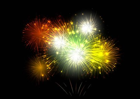 colorful fireworks vector on dark background with sparking bokeh. Vector illustration