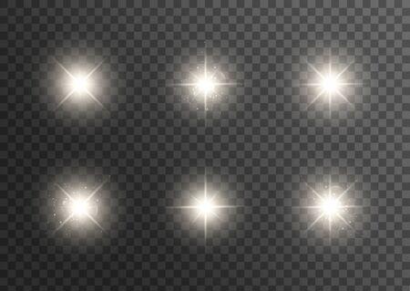La lumière rougeoyante blanche explose sur un fond transparent. Particules de poussière magiques étincelantes. Étoile brillante. Illustration vectorielle.