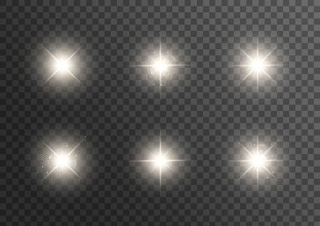 White glowing light explodes on a transparent background. Sparkling magical dust particles. Bright Star. Vector illustration .