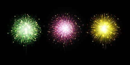 Colorful fireworks vector on dark background with sparking bokeh.