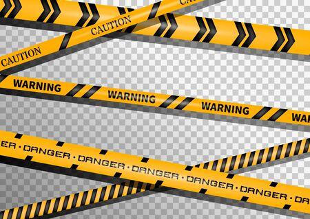 Nastri di avvertenza e pericolo. Nastro di avvertimento. Riga nera e gialla a strisce. Illustrazione vettoriale