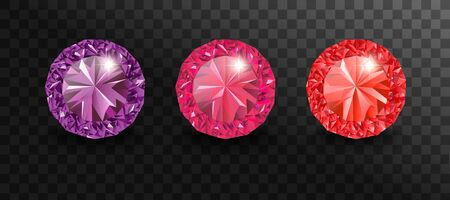 Set of vector realistic precious stones of different cuts and colors. Vector illustration jewelry gems. Ilustrace