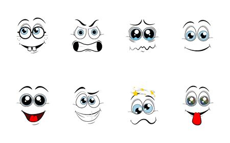 Cartoon eyes. Comic eye staring gaze watch, funny face parts facing smile cute, angry and joyful emotions.