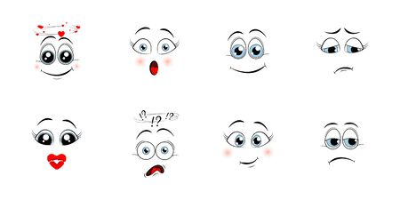 Cartoon eyes. Comic eye staring gaze watch, funny face parts facing smile cute, angry and joyful emotions. Vector illustration