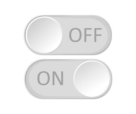 On and Off toggle switch buttons. Material design switch buttons set. Vector illustration Illustration