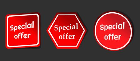 Special Offer, sale tag, banner design template, app icon, Vector Modern Sticker Illustration.