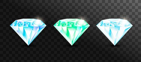 Set of  jewelry gems, stone for game. Vector illustration Ilustrace