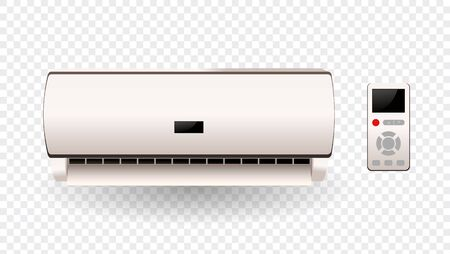 Vector air conditioner with fresh air isolated. Electric equipment. Vector illustration
