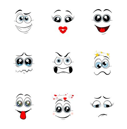 Cartoon eyes. Comic eye staring gaze watch, funny face parts facing smile cute, angry and joyful emotions. Vector illustration  Ilustrace