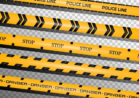 Caution lines isolated. Warning tapes. Danger signs. Vector illustration. Ilustrace