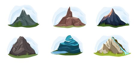 Different shapes of mountains set isolated vector illustration. Nature landscape, volcano, hill tops, iceberg, mountain range, barrow. Outdoor adventure, travel, tourism.
