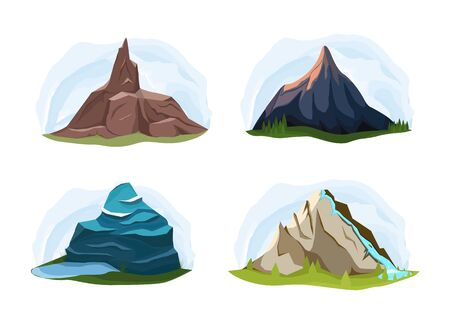 Different shapes of mountains with landscapes of vibrant color schemes. Vector illustration