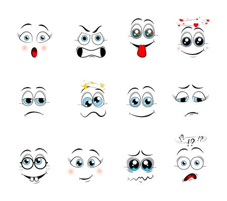Cartoon expressions. Cute face elements eyes and mouths with happy, sad and angry, disbelief emotions. Cartoon eyes. Vector illustration  Çizim