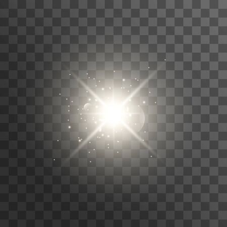 White glowing light explodes on a transparent background. with ray. Transparent shining sun, bright flash. Vector illustration